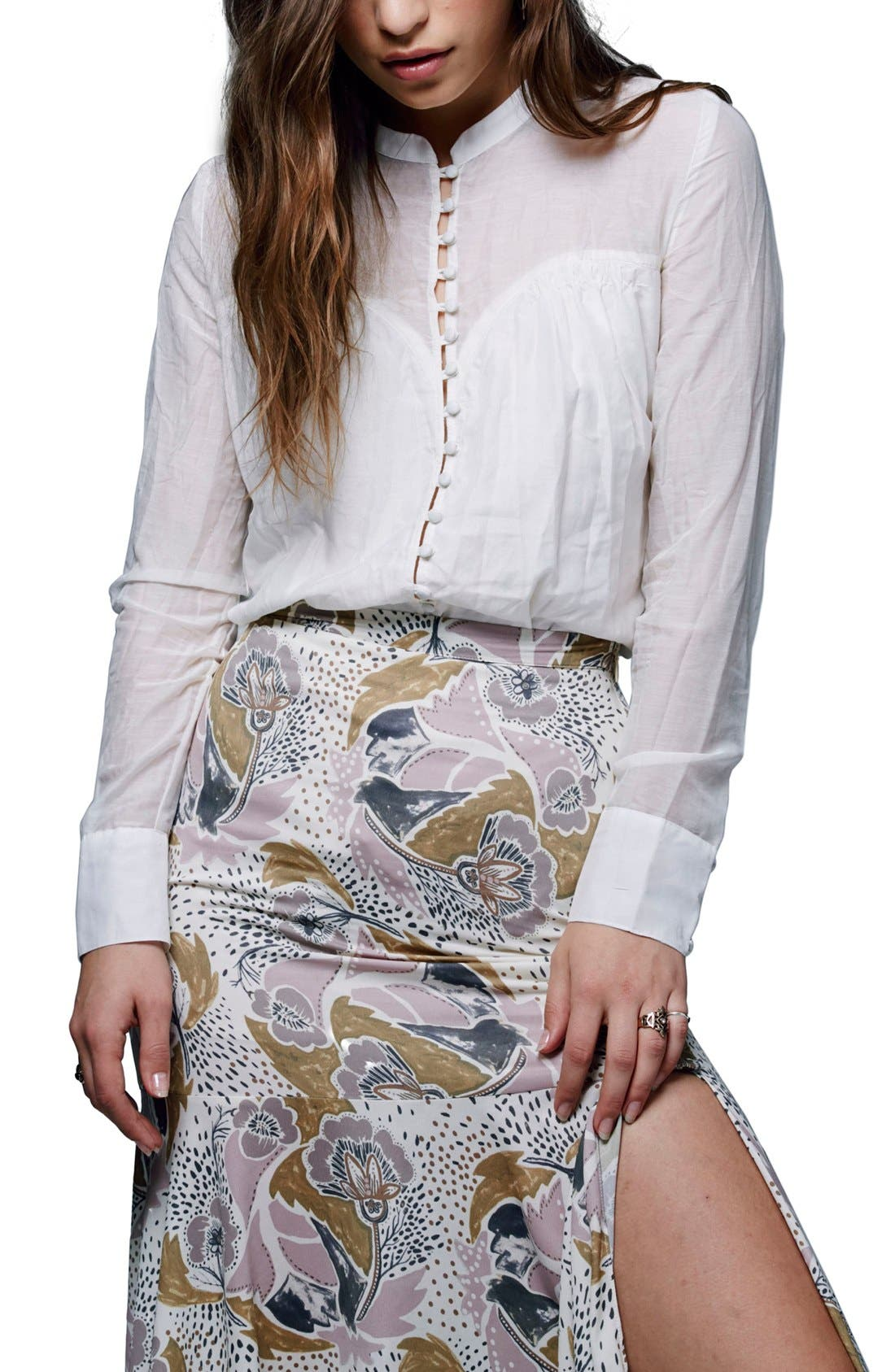 Alternate Image 1 Selected - Free People 'Through and Through' Illusion Yoke Cotton & Silk Top