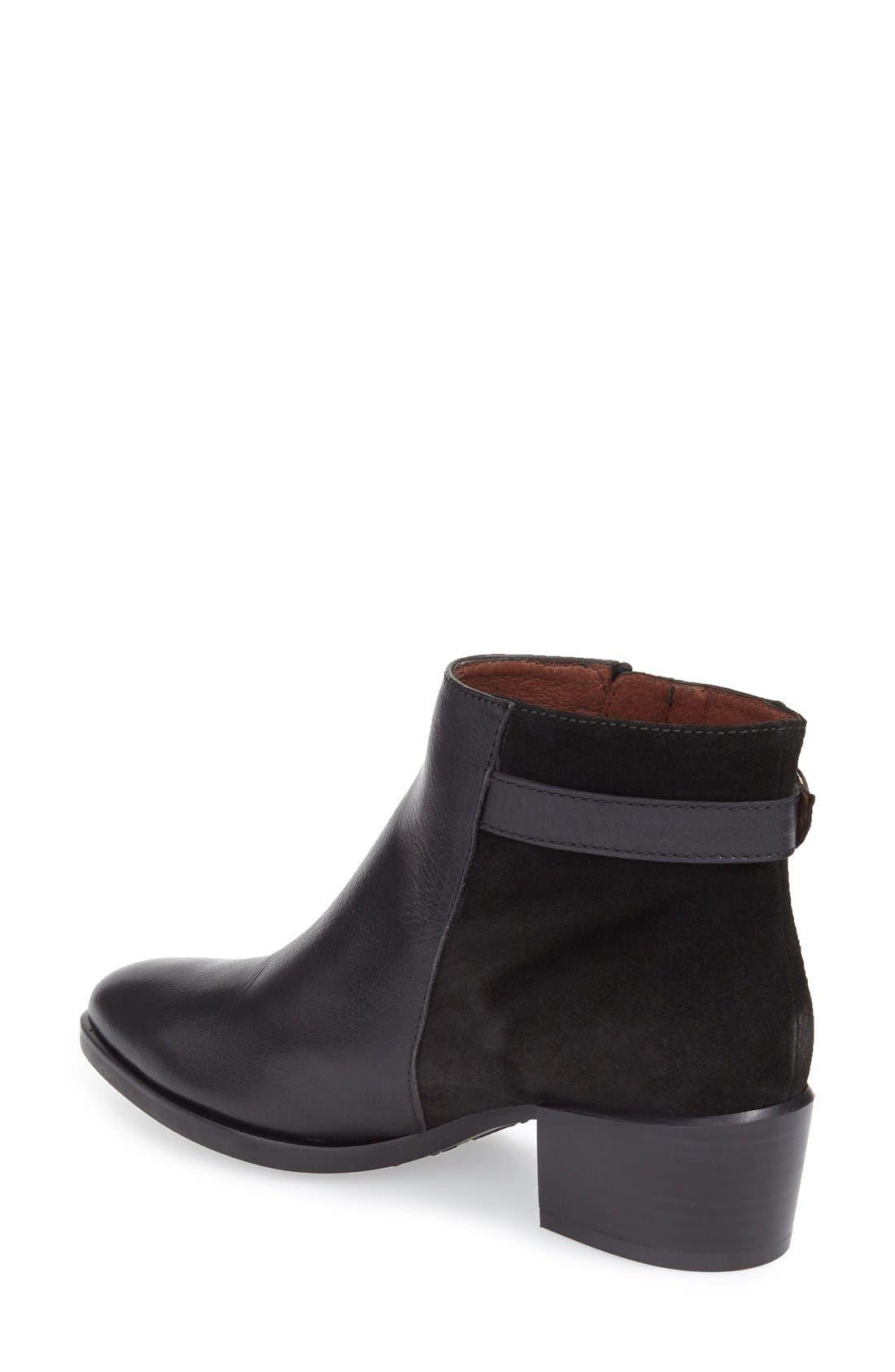 Lakisha Block Heel Bootie,                             Alternate thumbnail 2, color,                             Black Leather