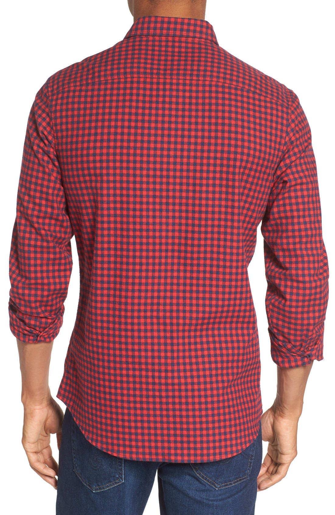 Alternate Image 2  - Nordstrom Men's Shop Slim Fit Gingham Flannel Sport Shirt