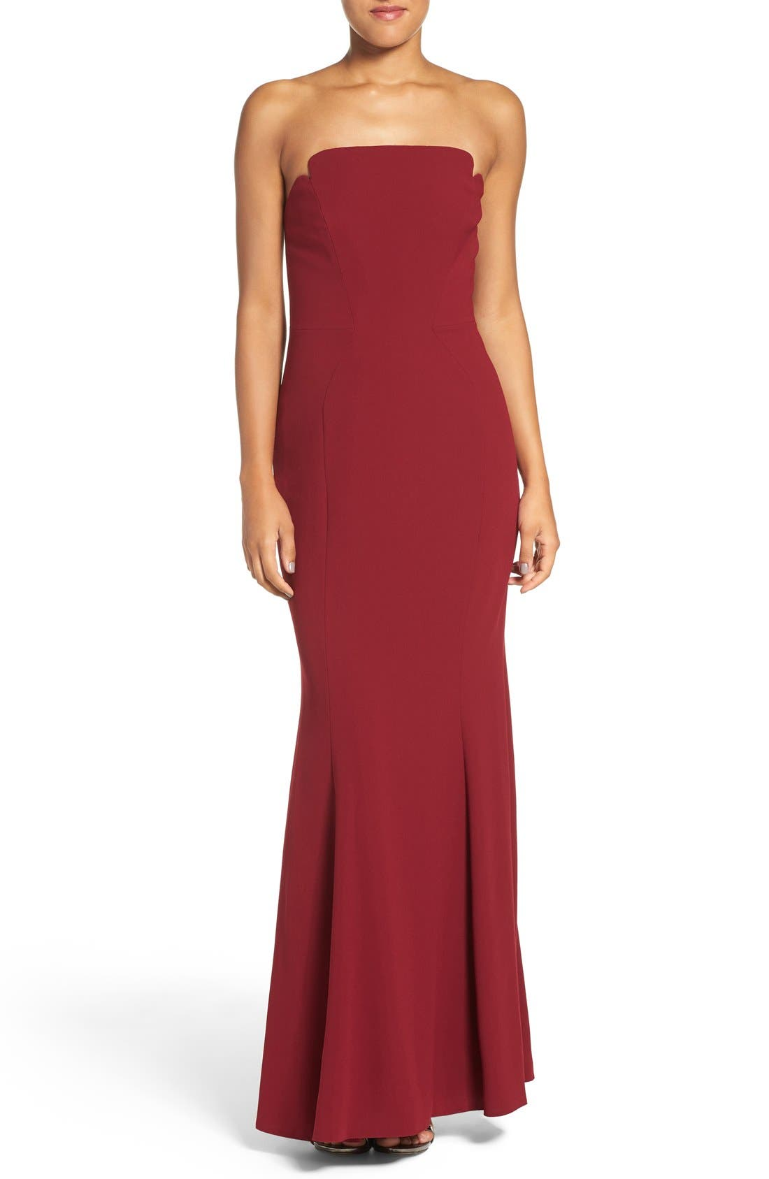 Notched Strapless Gown,                         Main,                         color, Currant