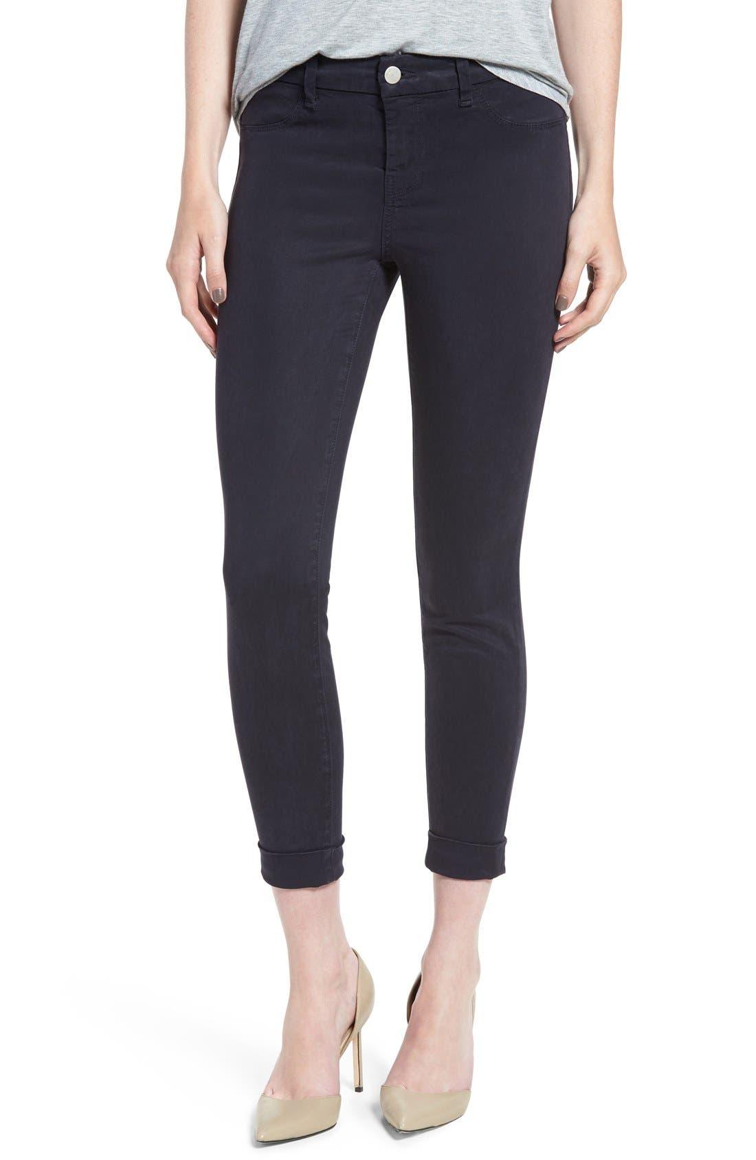 High Waist Ankle Super Skinny Jeans,                             Main thumbnail 1, color,                             Dark Navy