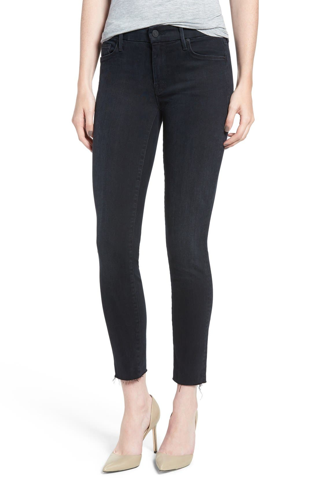 MOTHER Frayed Ankle Skinny Jeans (Black Bird)
