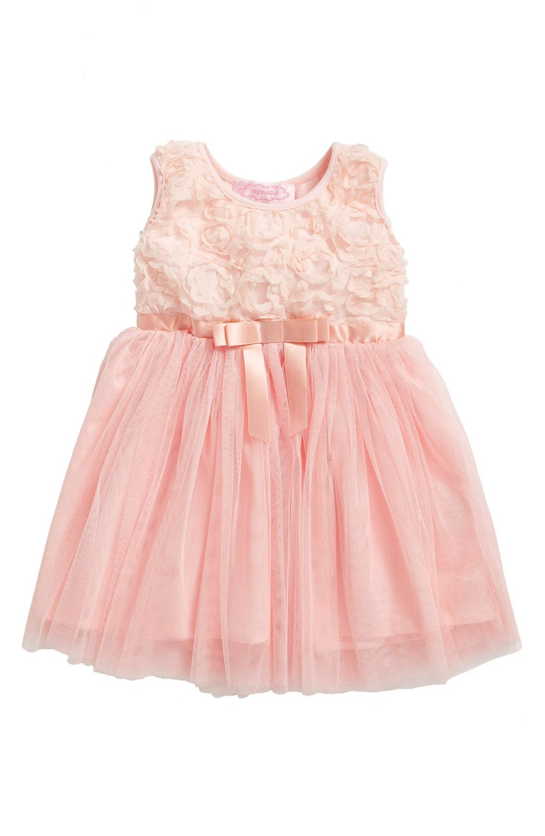Alternate Image 1 Selected - Popatu Empire Waist Rosette Dress (Baby Girls)