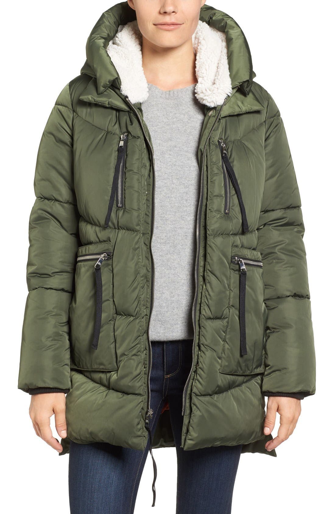 Steve Madden Hooded Puffer Jacket with Faux Shearling Trim
