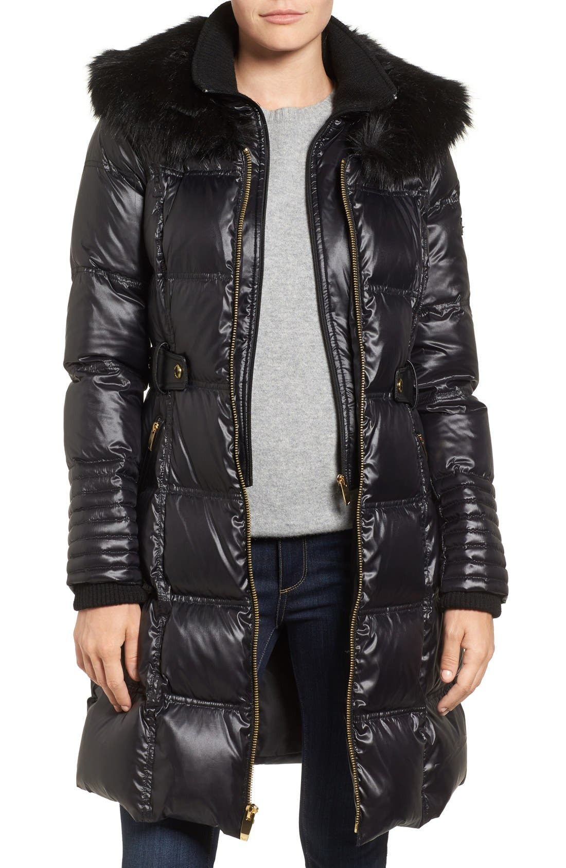 Main Image - Via Spiga Quilted Coat with Faux Fur Trim
