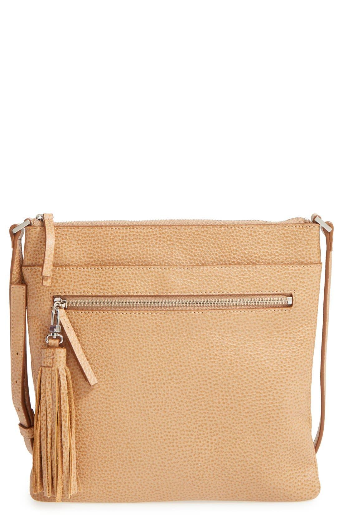 Alternate Image 1 Selected - Halogen® Tasseled Leather Crossbody Bag