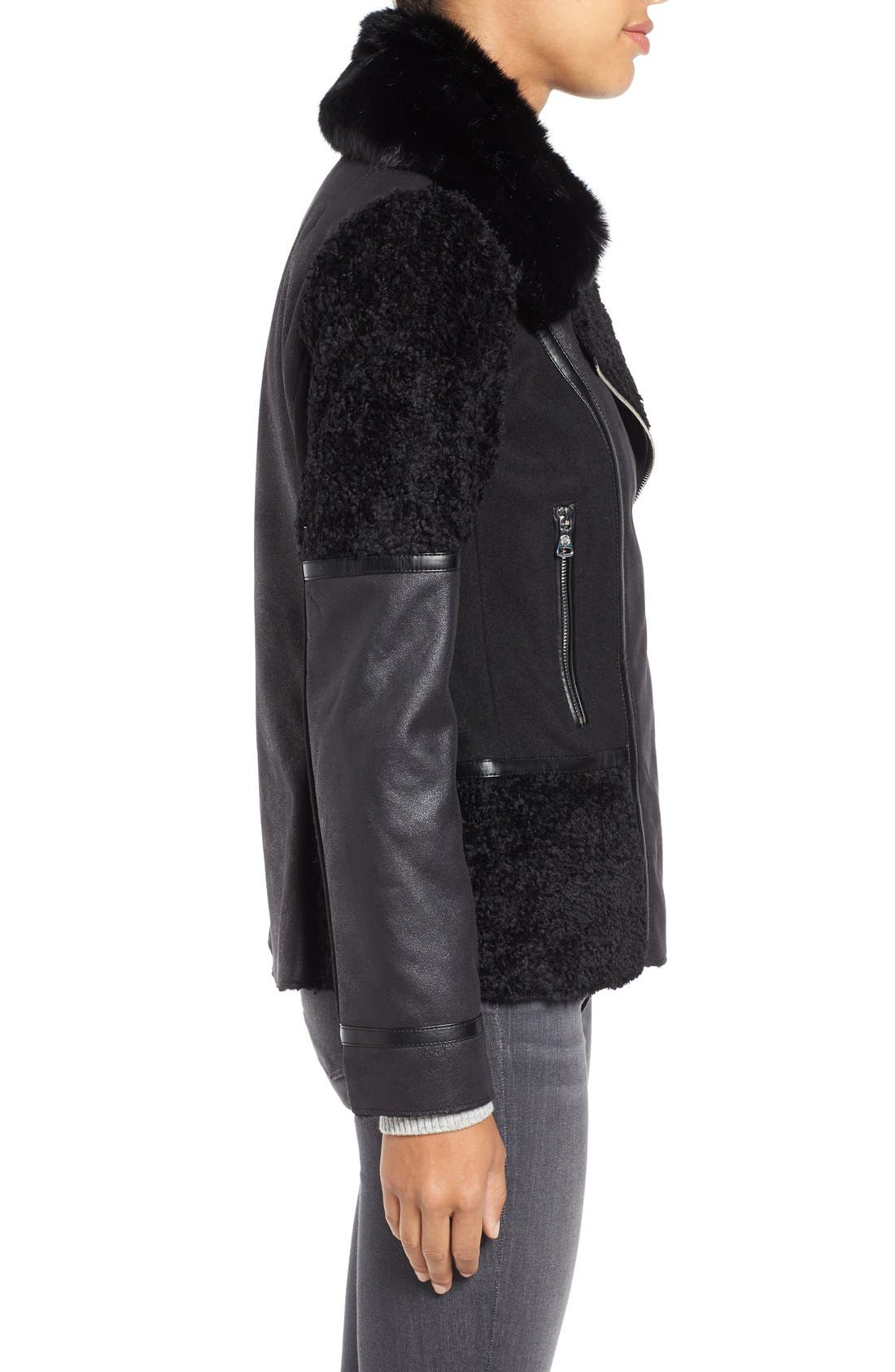 Alternate Image 3  - Vince Camuto Mixed Media Faux Shearling Moto Jacket