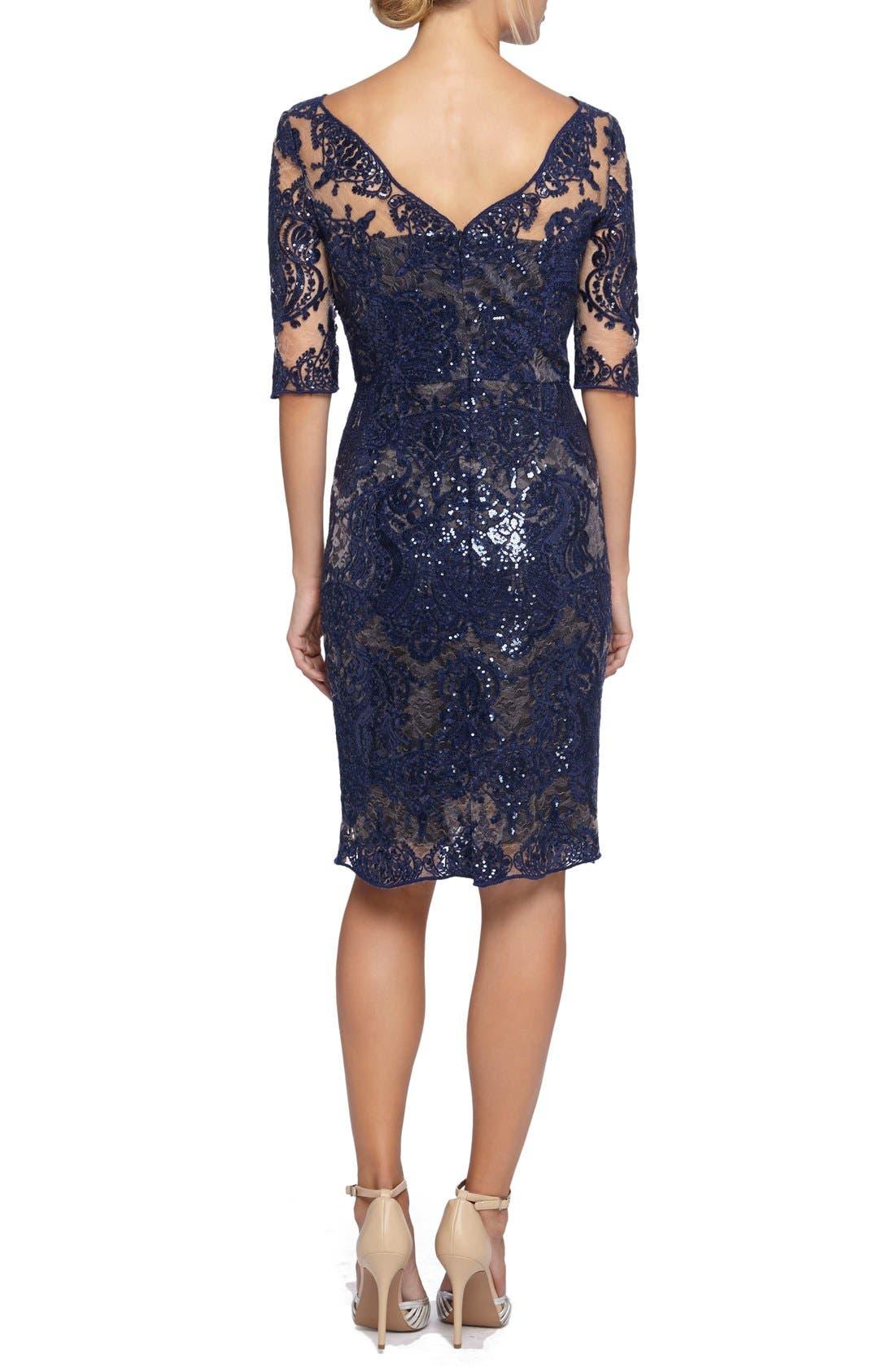 Alternate Image 2  - Tahari Sequin Lace Sheath Dress