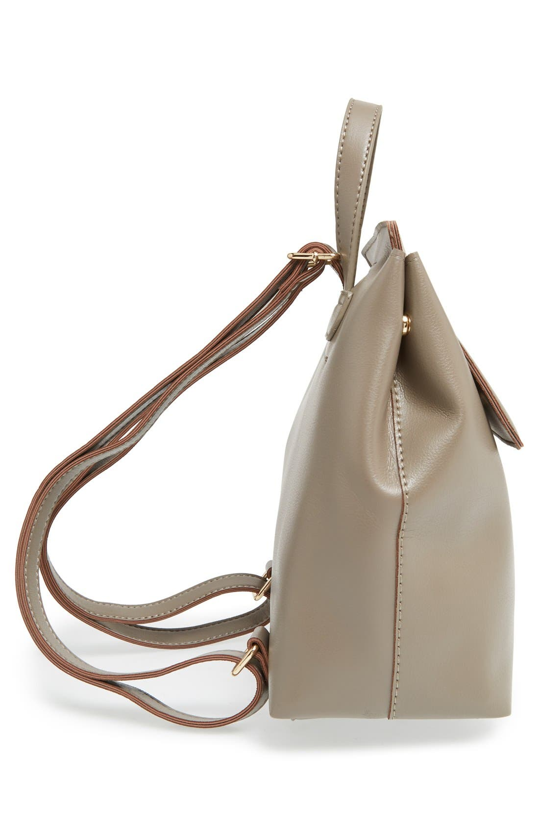 'Minimal Flap' Faux Leather Backpack,                             Alternate thumbnail 6, color,                             Taupe