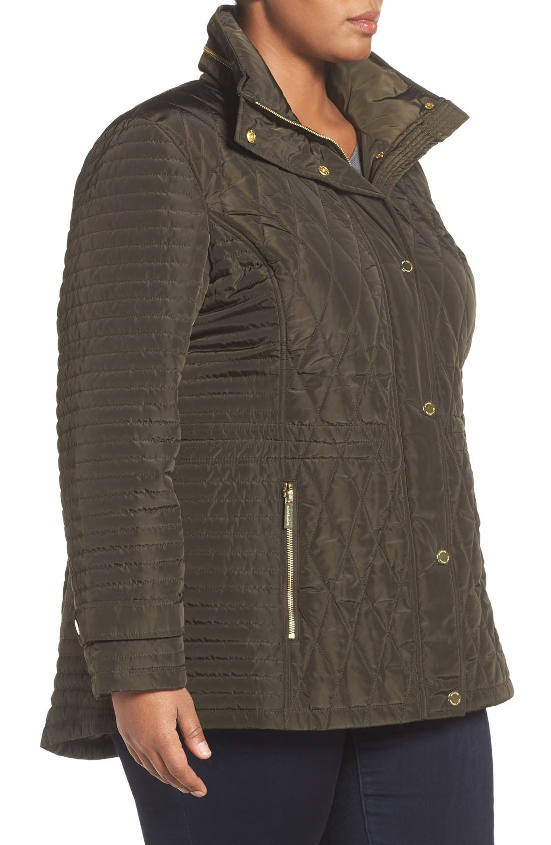 Quilted Jacket,                             Alternate thumbnail 3, color,                             Dark Moss