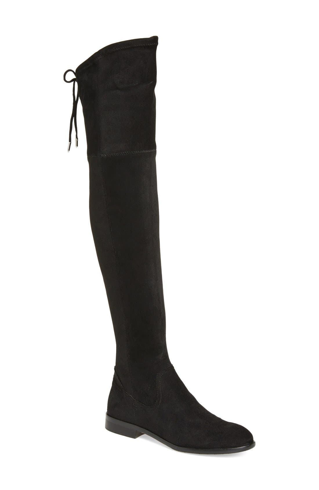 'Neely' Over the Knee Boot,                             Main thumbnail 1, color,                             Black Stretch Suede