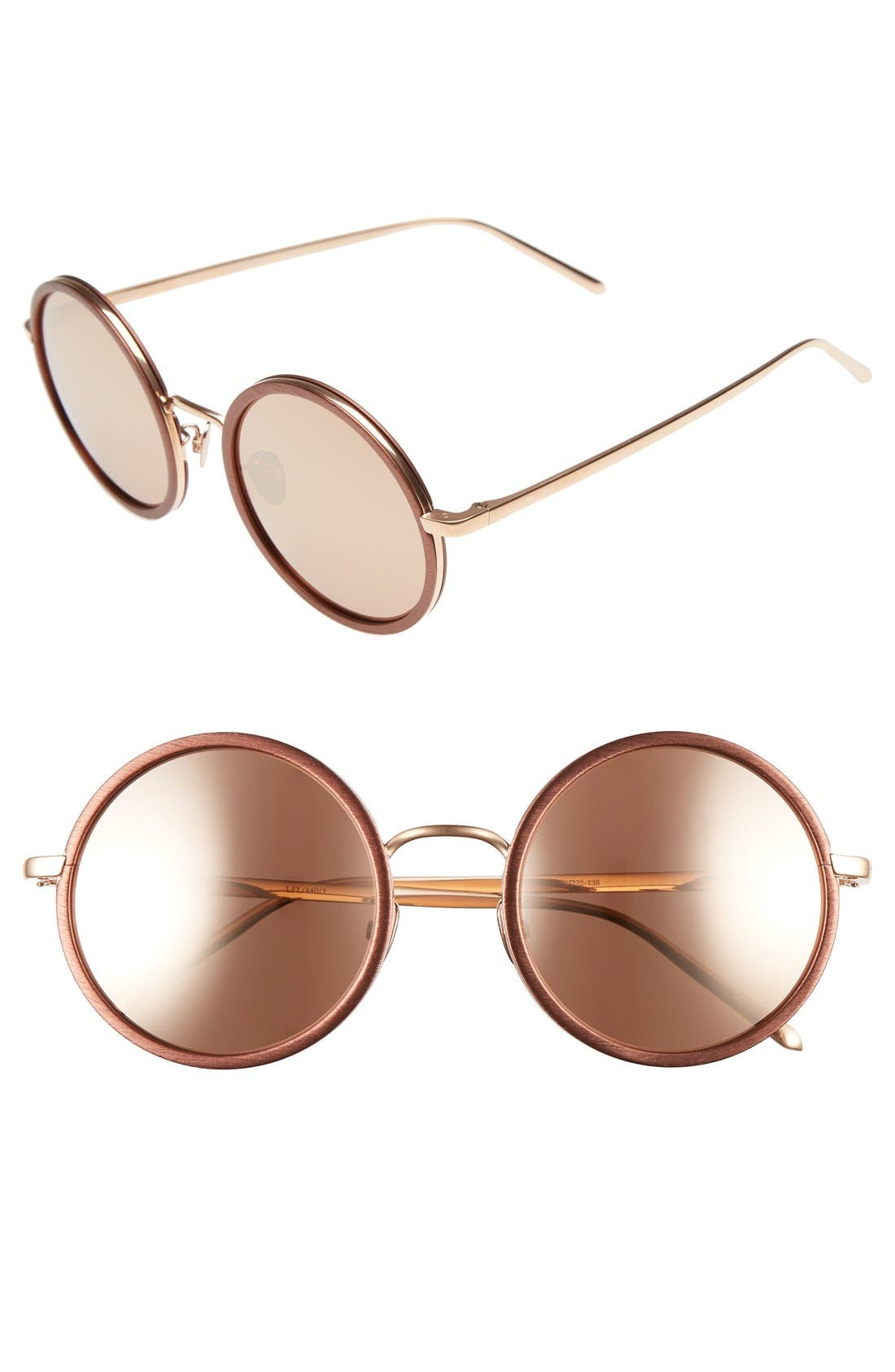 LINDA FARROW 52mm Round 18 Karat Rose Gold Trim Sunglasses