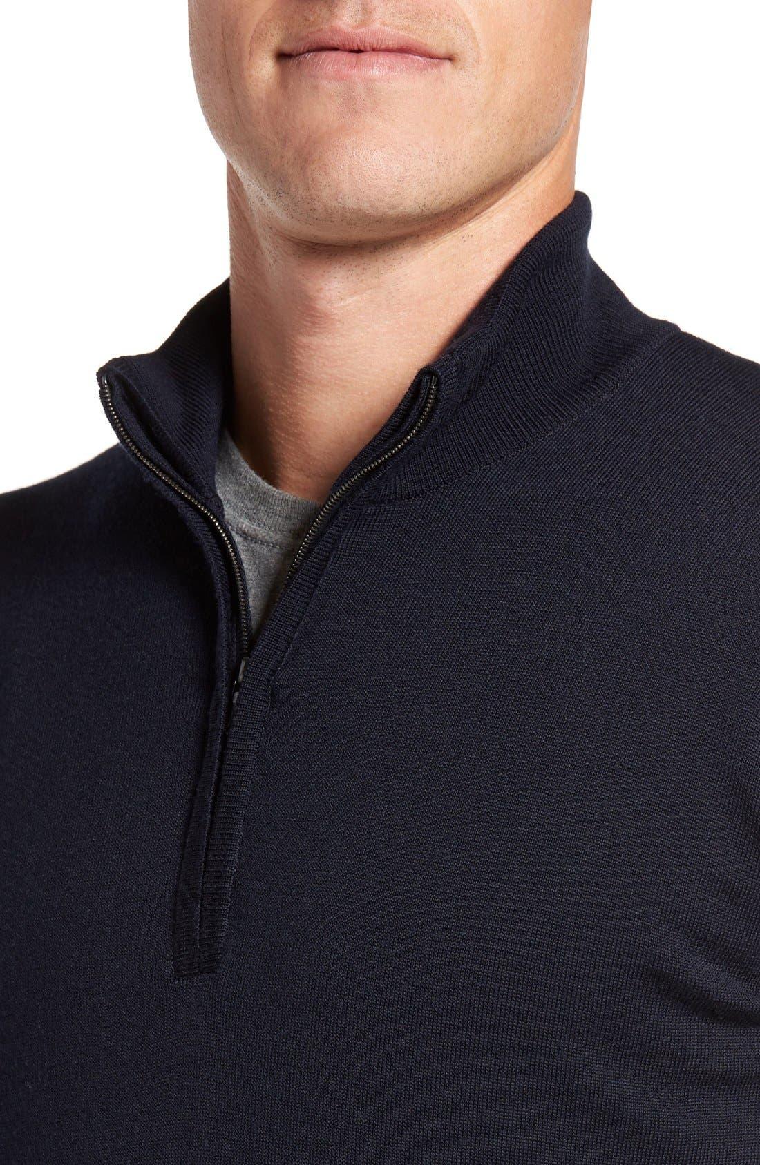 'Tapton' Quarter Zip Merino Wool Sweater,                             Alternate thumbnail 4, color,                             Midnight