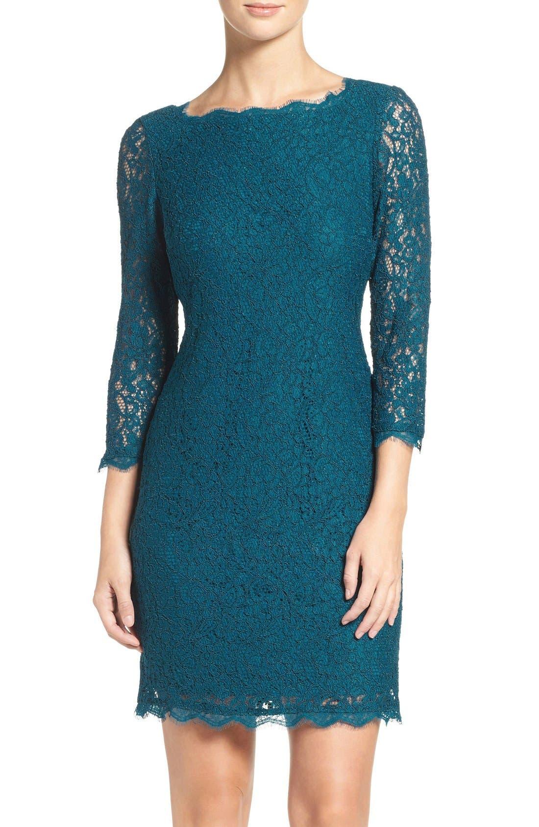 Lace Overlay Sheath Dress,                         Main,                         color, Deep Turquoise