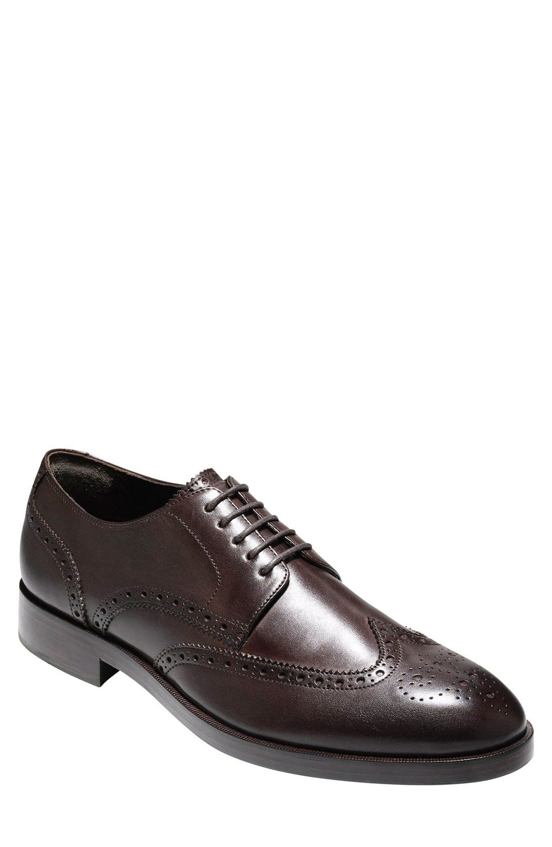 'Harrison Grand' Wingtip,                             Main thumbnail 1, color,                             Dark Brown Leather
