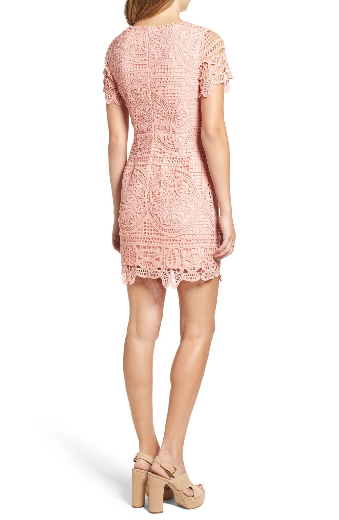 Alternate Image 2  - J.O.A. Crochet Lace Sheath Dress