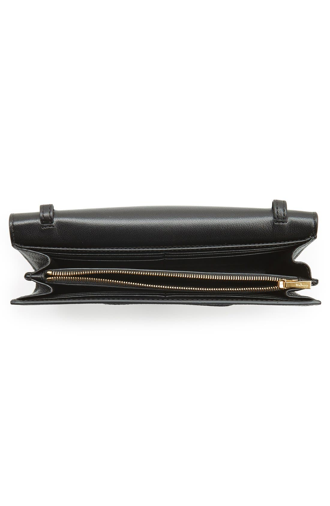 'Continental - Classic' Convertible Leather Clutch,                             Alternate thumbnail 4, color,                             Black