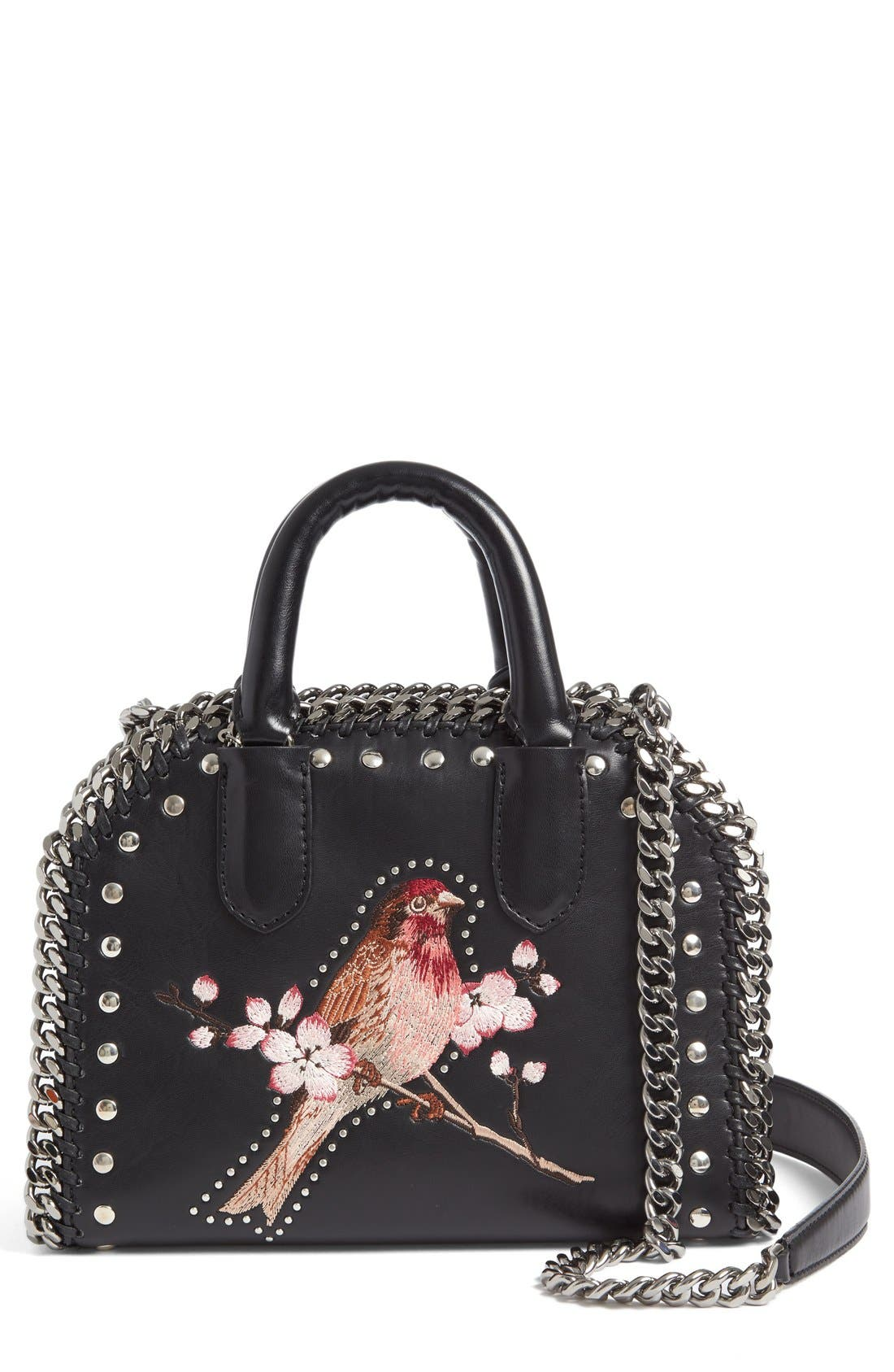 STELLA MCCARTNEY Mini Falabella Embroidered Faux Leather Tote