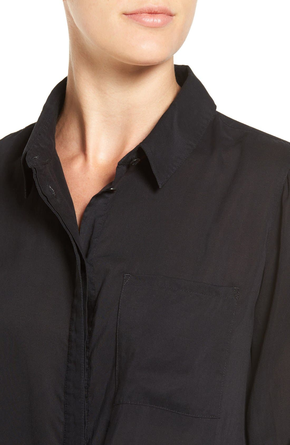 Drapey Classic Shirt,                             Alternate thumbnail 4, color,                             Black