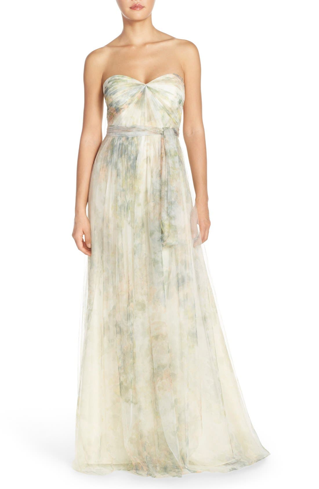 Annabelle Print Tulle Convertible Column Gown,                             Main thumbnail 1, color,                             Ivory Sage Rose