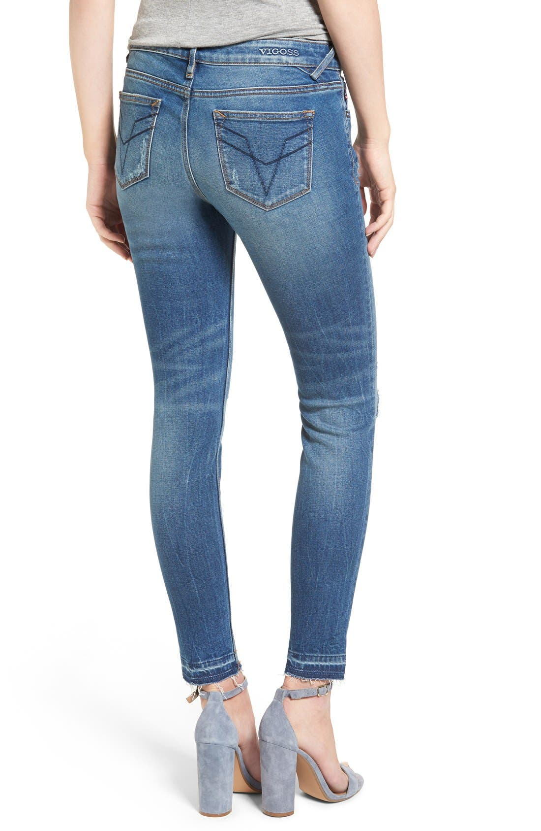 Alternate Image 2  - Vigoss 'Chelsea' Distressed Raw Hem Skinny Jeans
