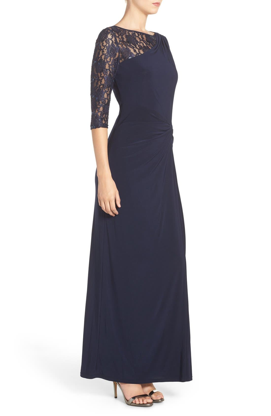 Sequin Lace & Jersey Gown,                             Alternate thumbnail 3, color,                             Navy