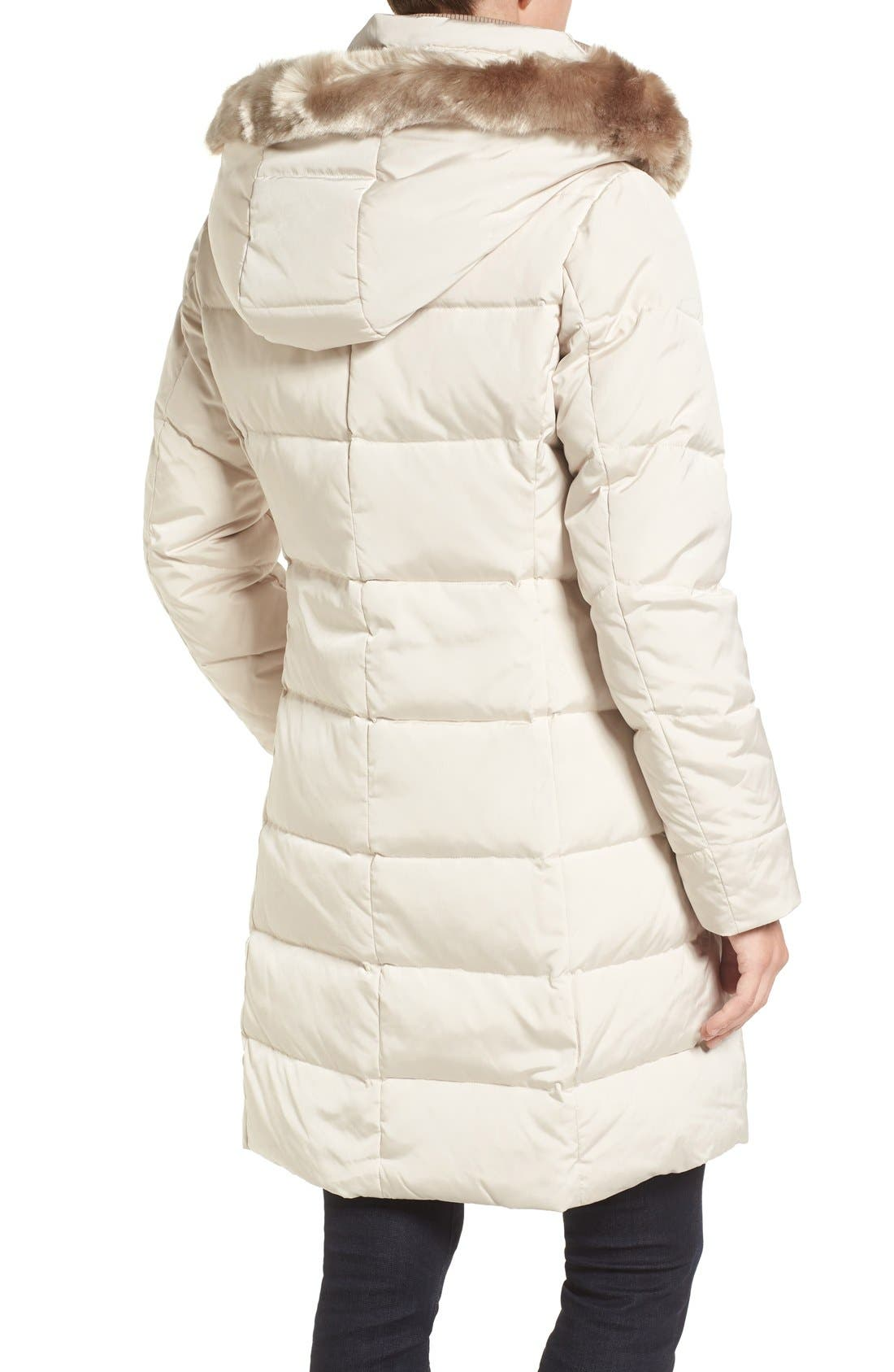 Down & Feather Fill Coat with Faux Fur Trim Hood,                             Alternate thumbnail 3, color,                             Stone