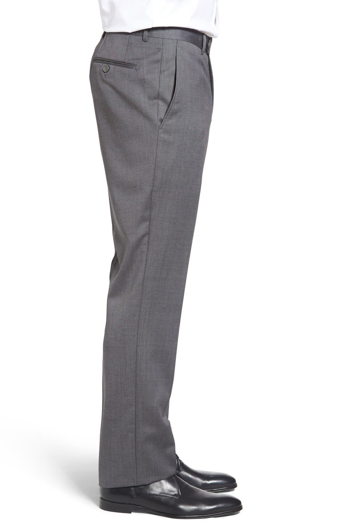 Flat Front Twill Wool Trousers,                             Alternate thumbnail 3, color,                             Medium Grey