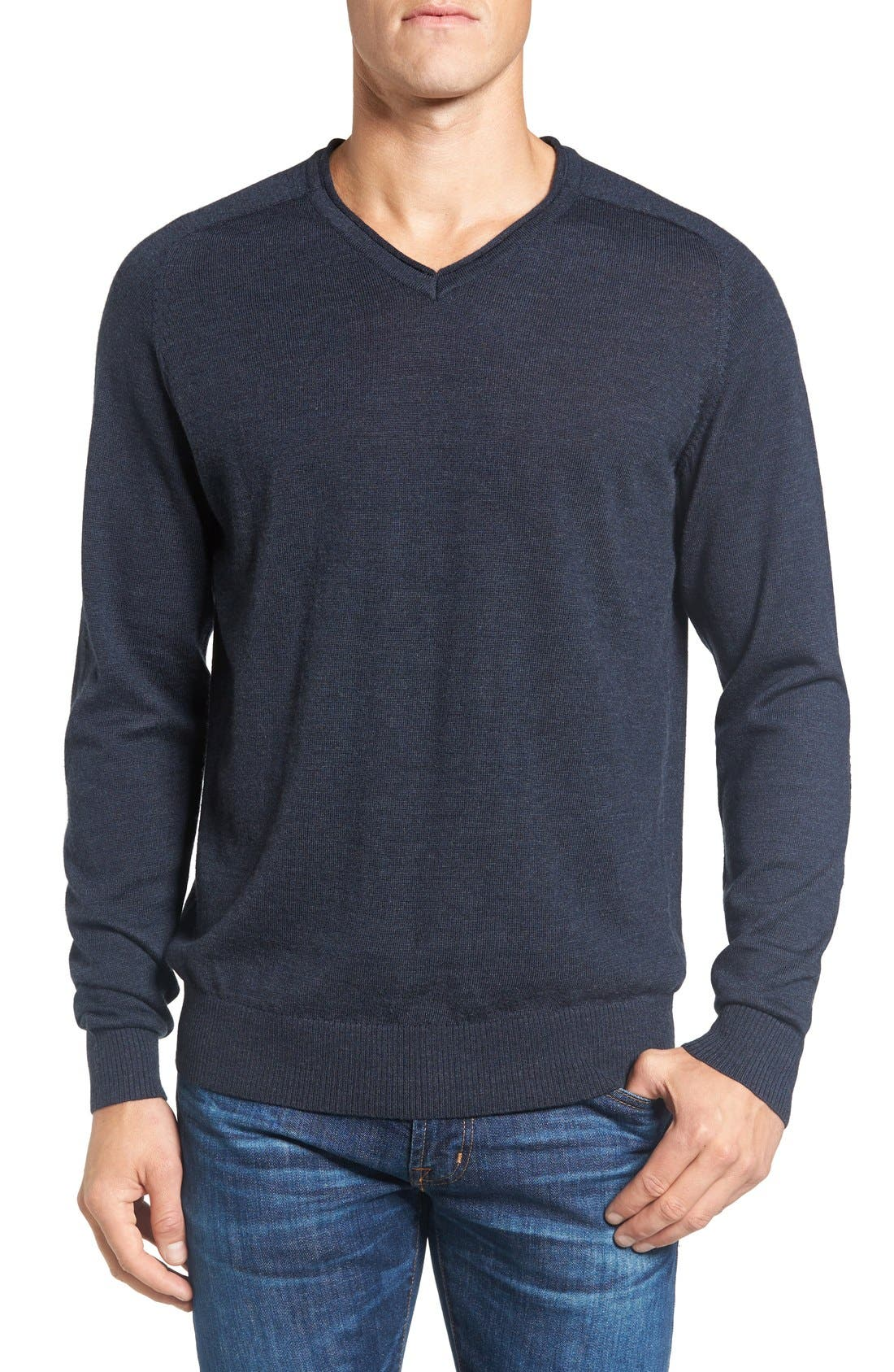 'Burwood Bay' Wool V-Neck Sweater,                             Main thumbnail 1, color,                             Ink