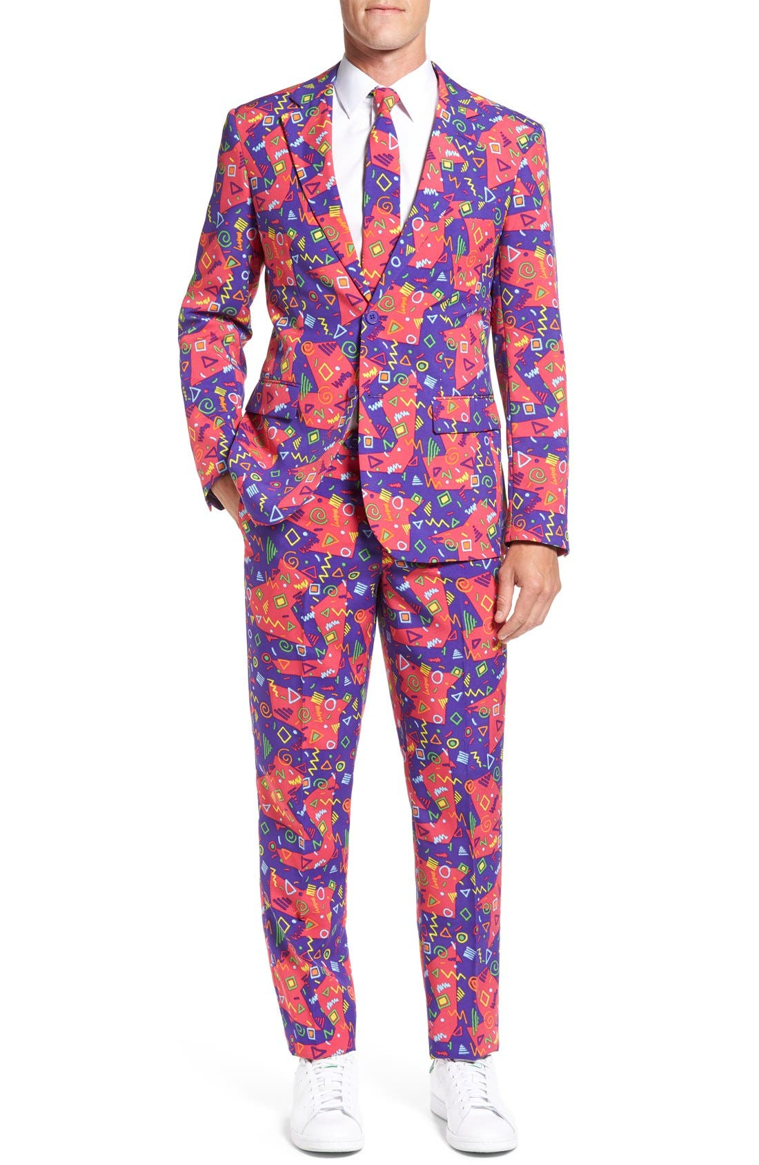 'The Fresh Prince' Trim Fit Two-Piece Suit with Tie,                         Main,                         color, Purple
