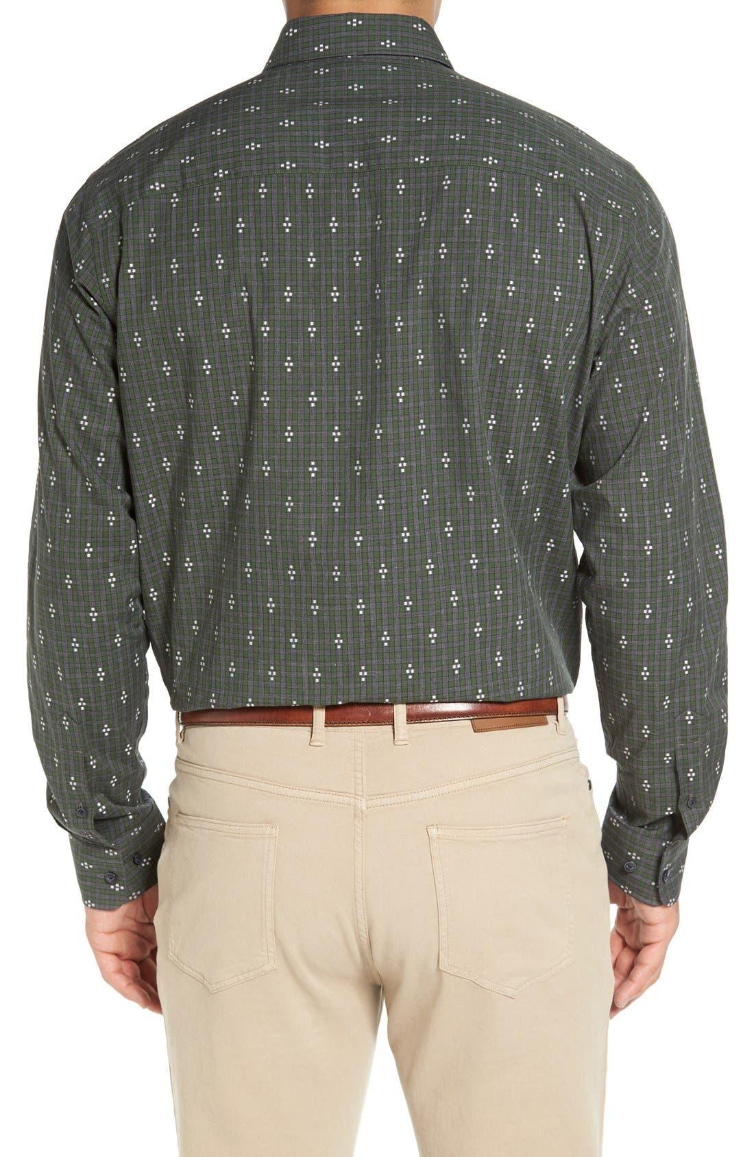 'Maxwell' Jacquard Check Sport Shirt,                             Alternate thumbnail 3, color,                             Grey/ Multi