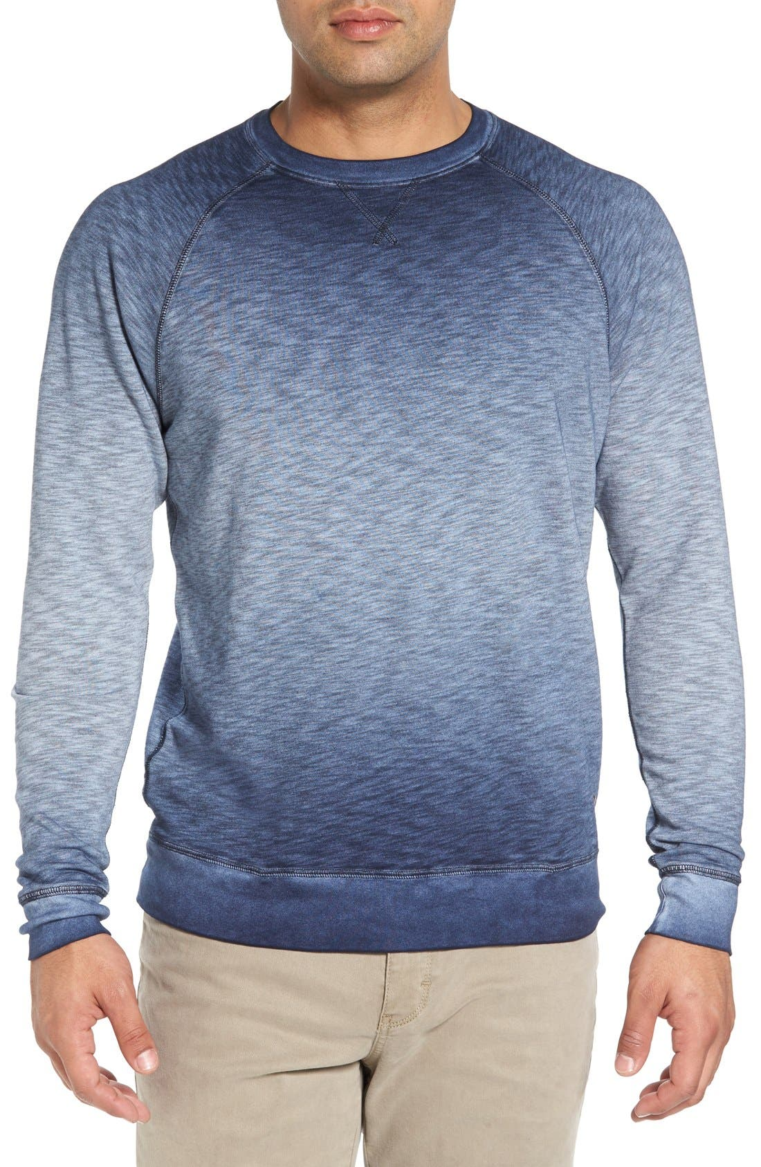 'Santiago' Ombré Crewneck Sweatshirt,                             Main thumbnail 1, color,                             Navy