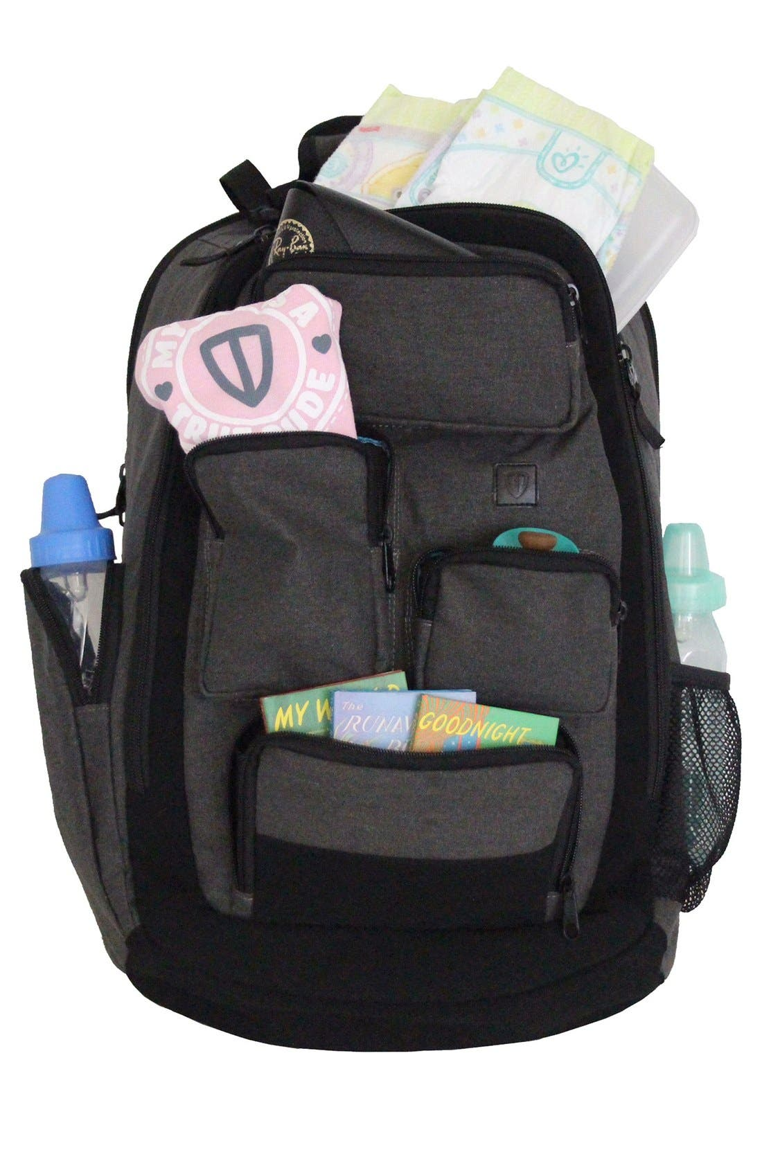 Canvas Diaper Backpack,                             Alternate thumbnail 3, color,                             Grey
