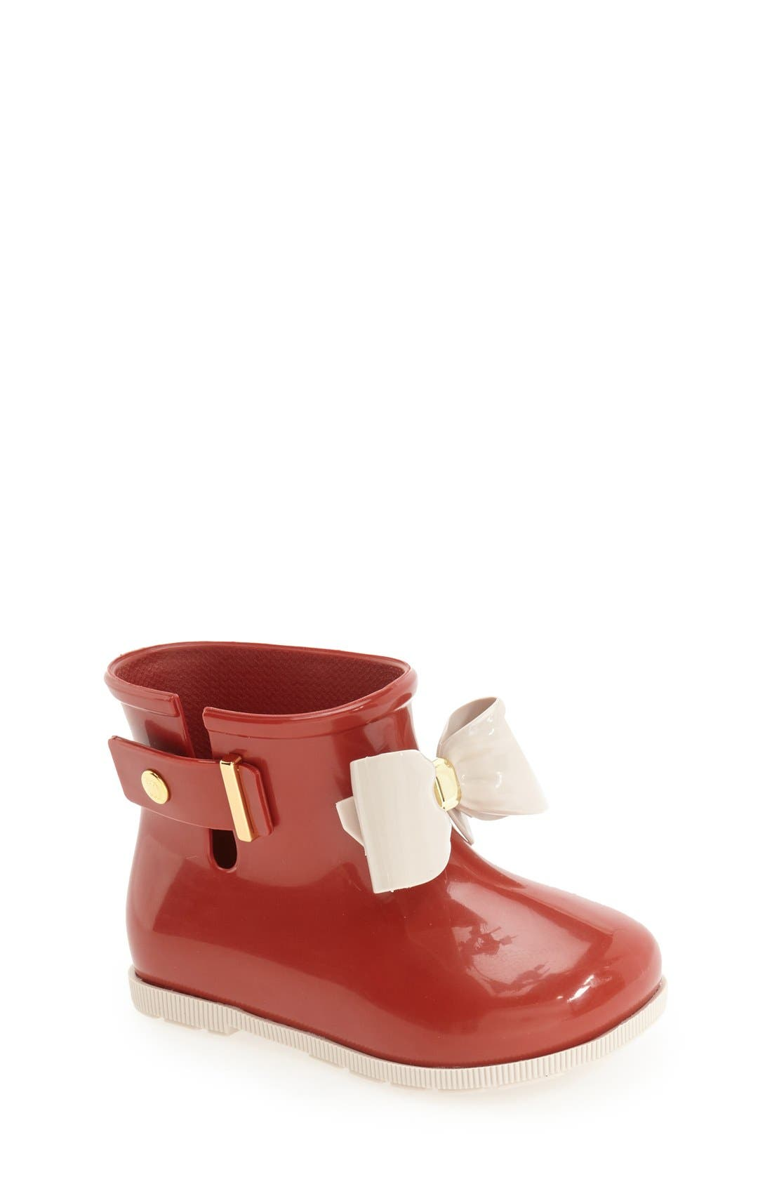 'Mini Sugar' Rain Boot,                             Main thumbnail 1, color,                             Burgundy