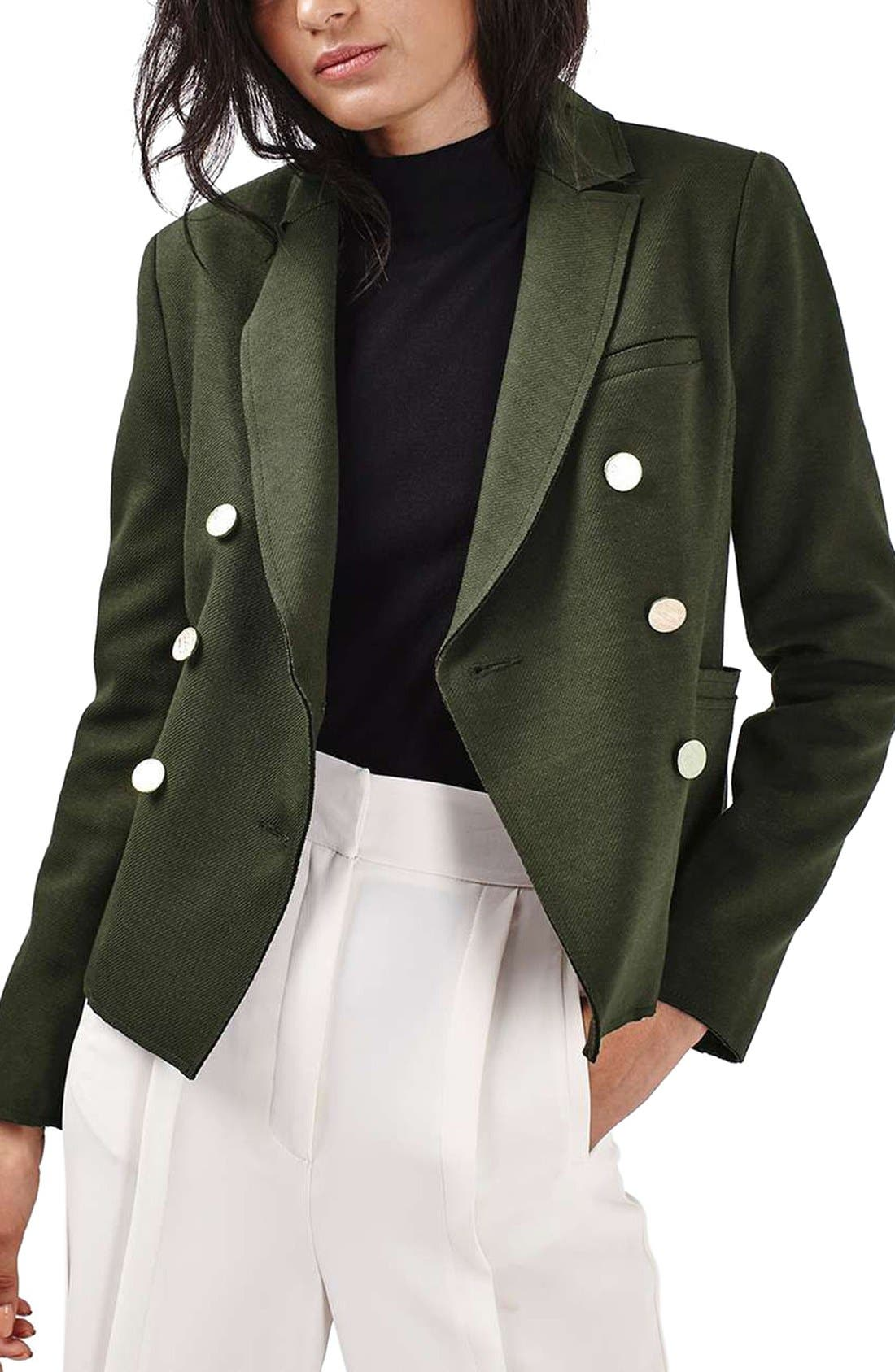 Gold Button Double Breasted Blazer,                             Main thumbnail 1, color,                             Green