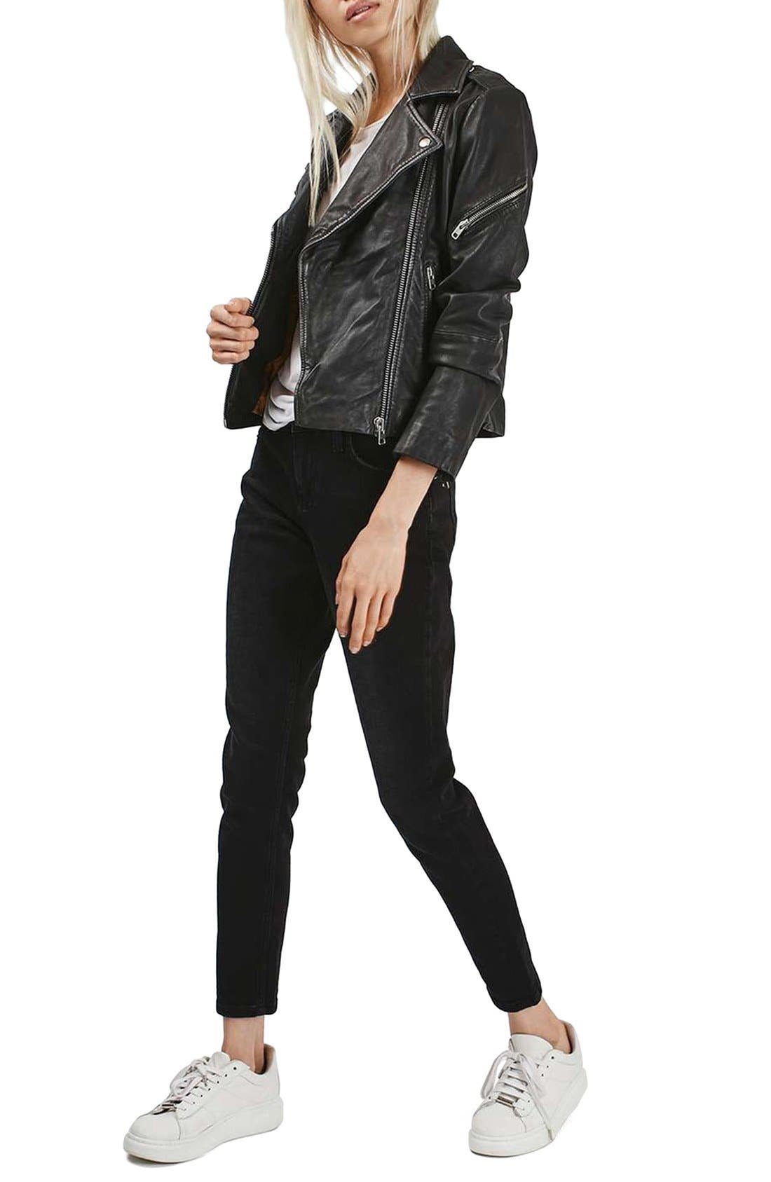 Alternate Image 2  - Topshop Lightning Leather Biker Jacket