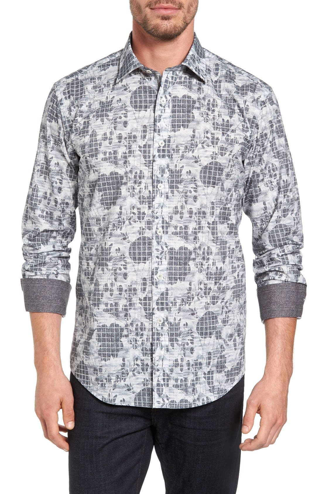 Shaped Fit Graphic Sport Shirt,                         Main,                         color, Platinum