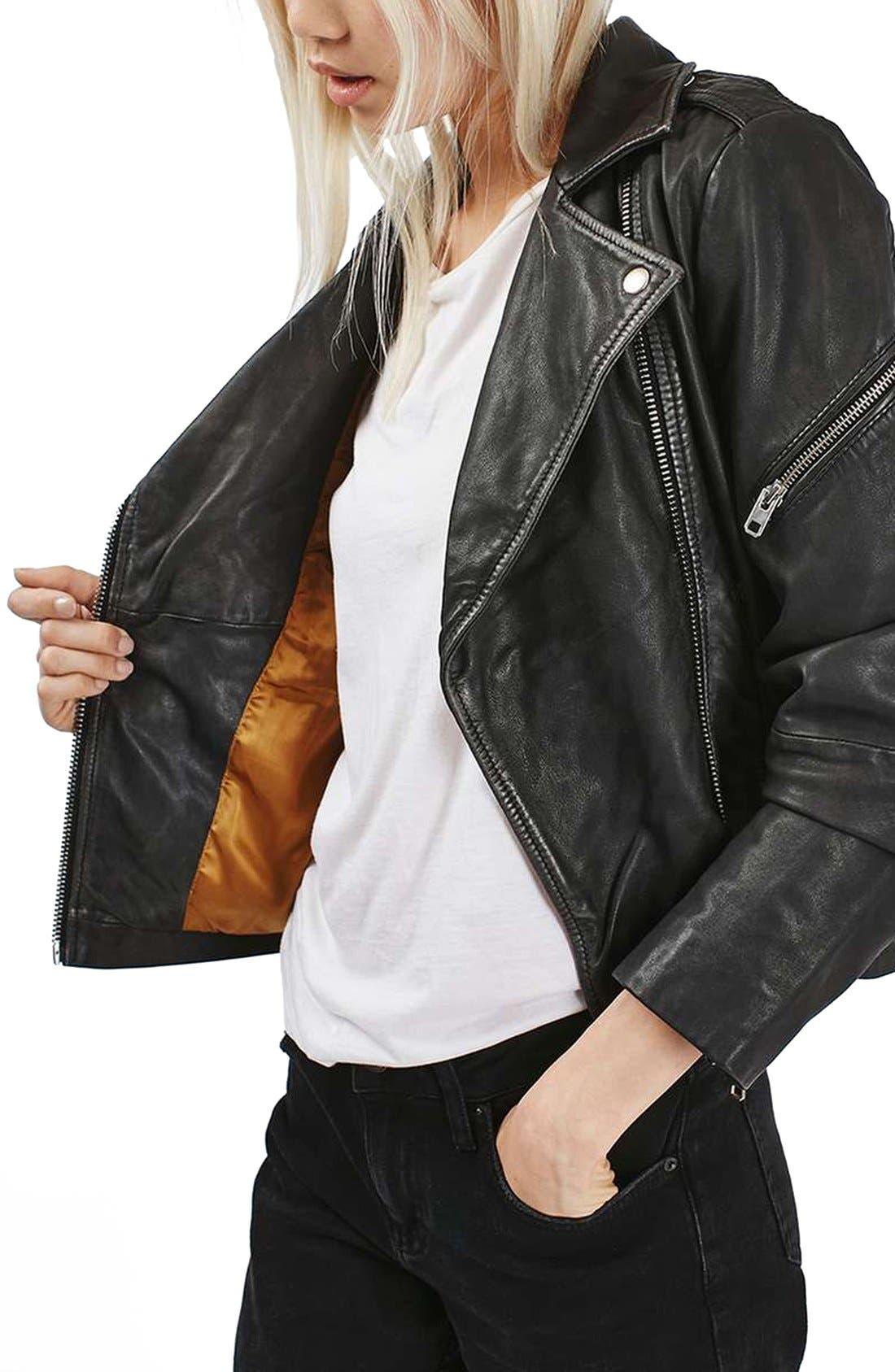 Lightning Leather Biker Jacket,                         Main,                         color, Black