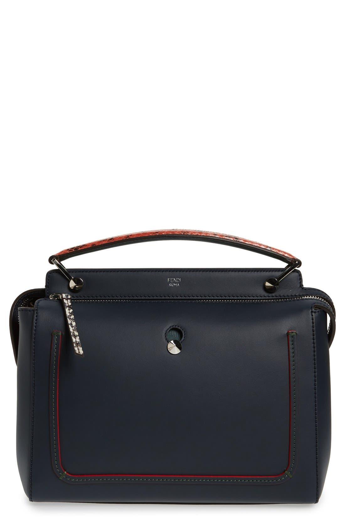 Main Image - Fendi 'DOTCOM' Leather & Genuine Snakeskin Satchel