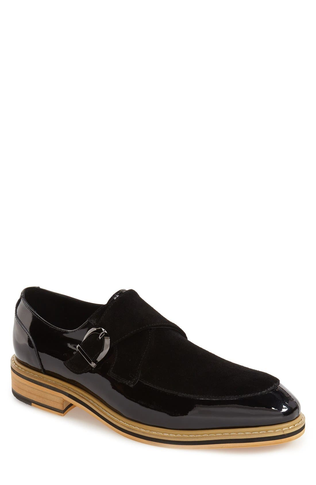 'Courbet' Monk Strap Shoe,                             Main thumbnail 1, color,                             Black
