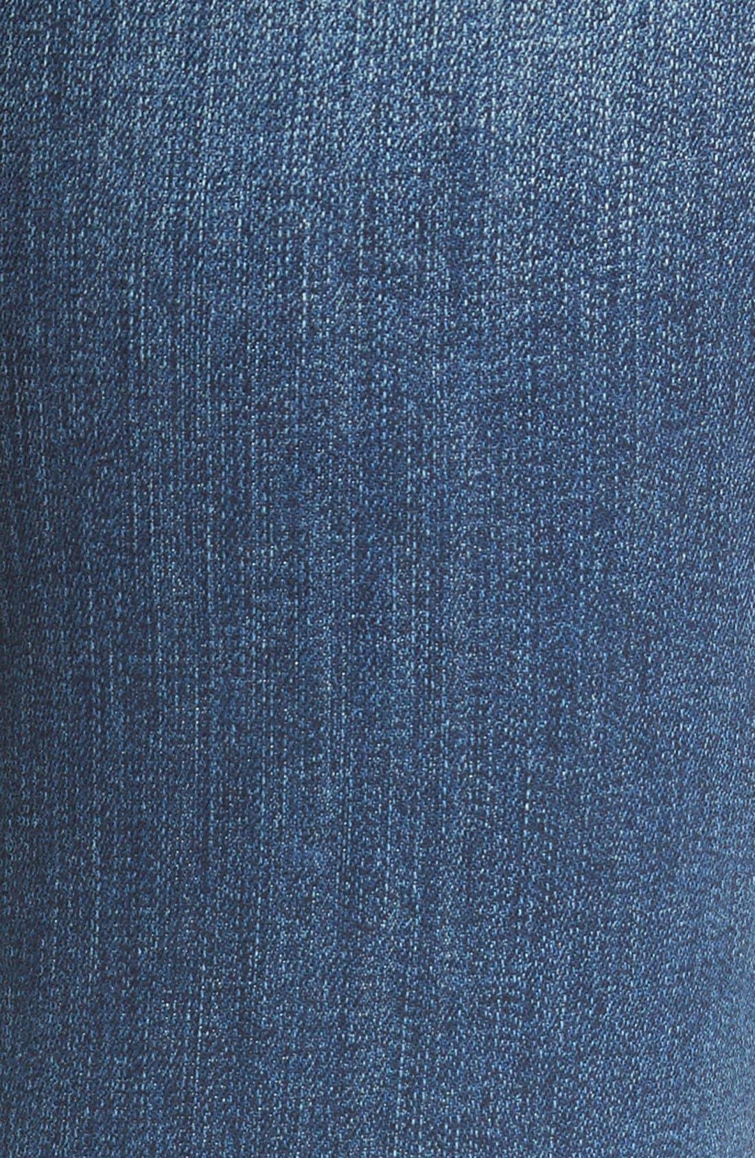 Raw Edge Skinny Jeans,                             Alternate thumbnail 5, color,                             Med Wash