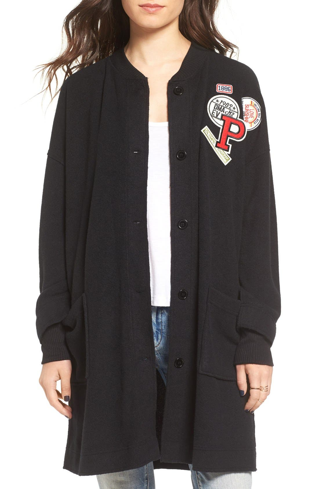 Alternate Image 1 Selected - Chloe & Katie Varsity Patch Cardigan