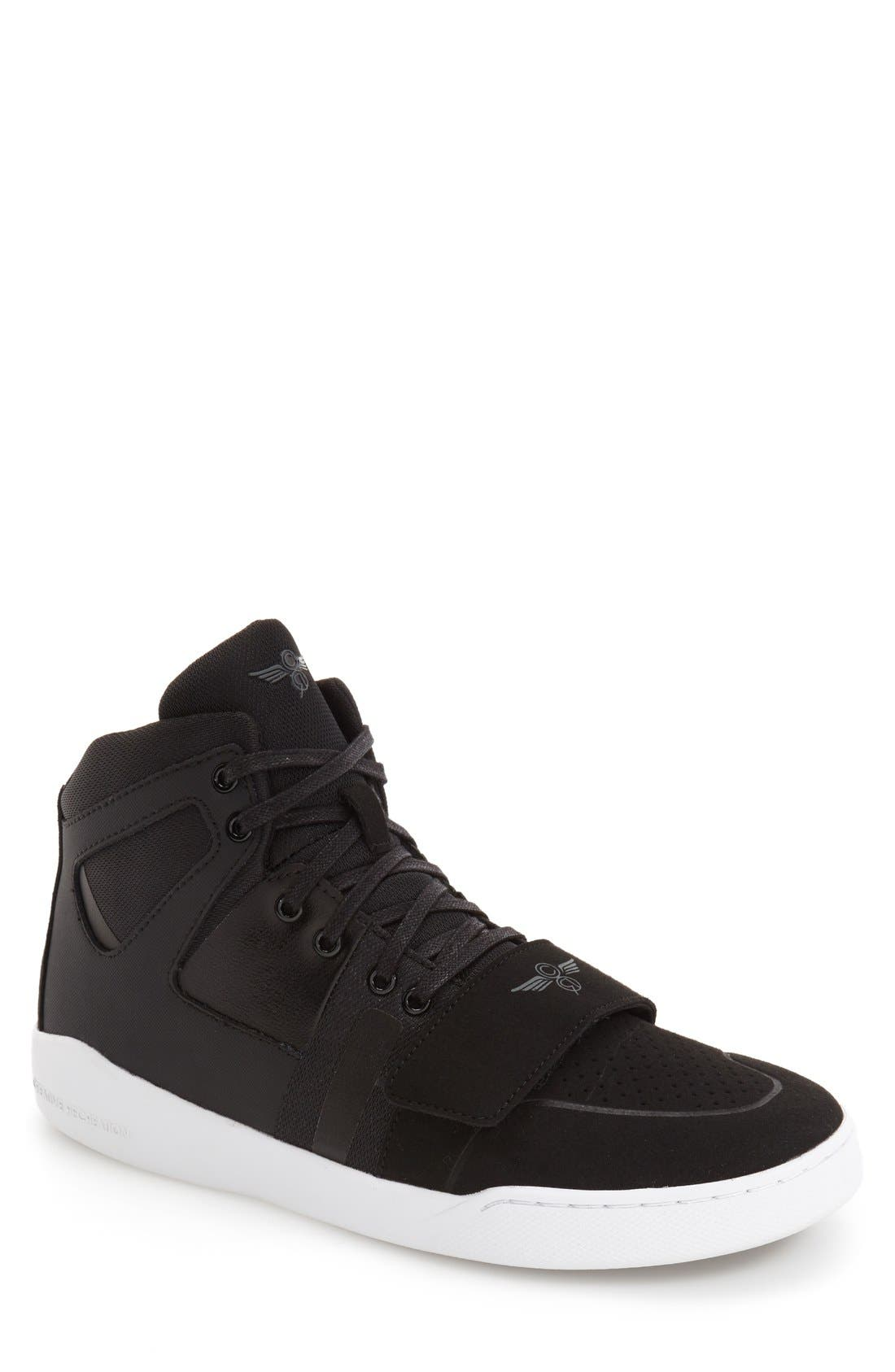 'Manzo' Sneaker,                         Main,                         color, Black Leather