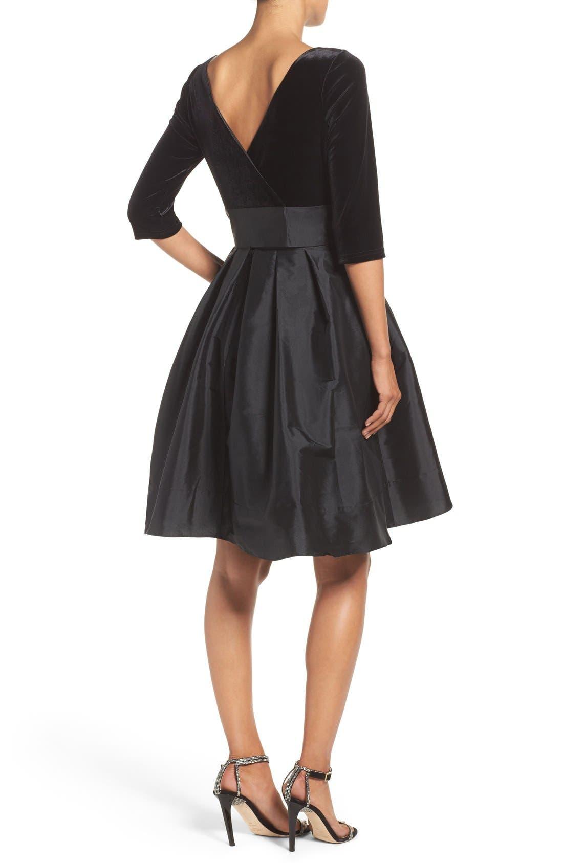 Alternate Image 2  - Adrianna Papell Velvet & Taffeta Fit & Flare Dress