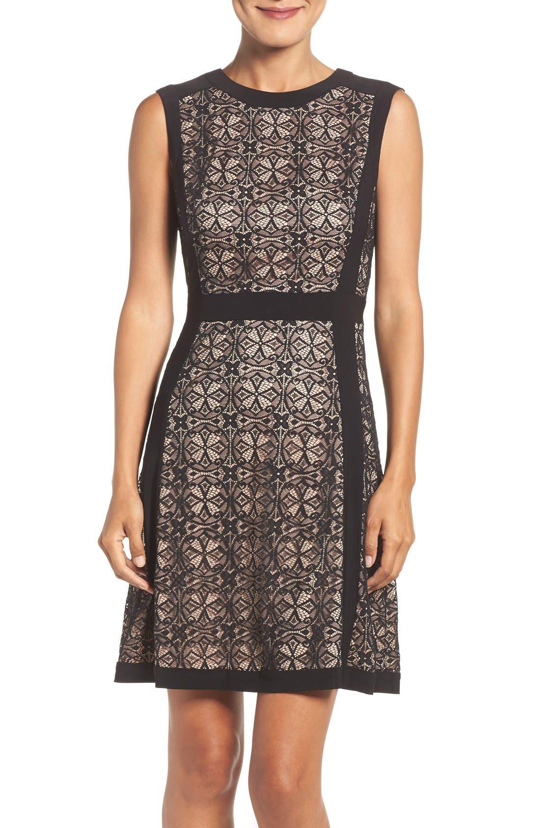 Lace Fit & Flare Dress,                             Main thumbnail 1, color,                             Black