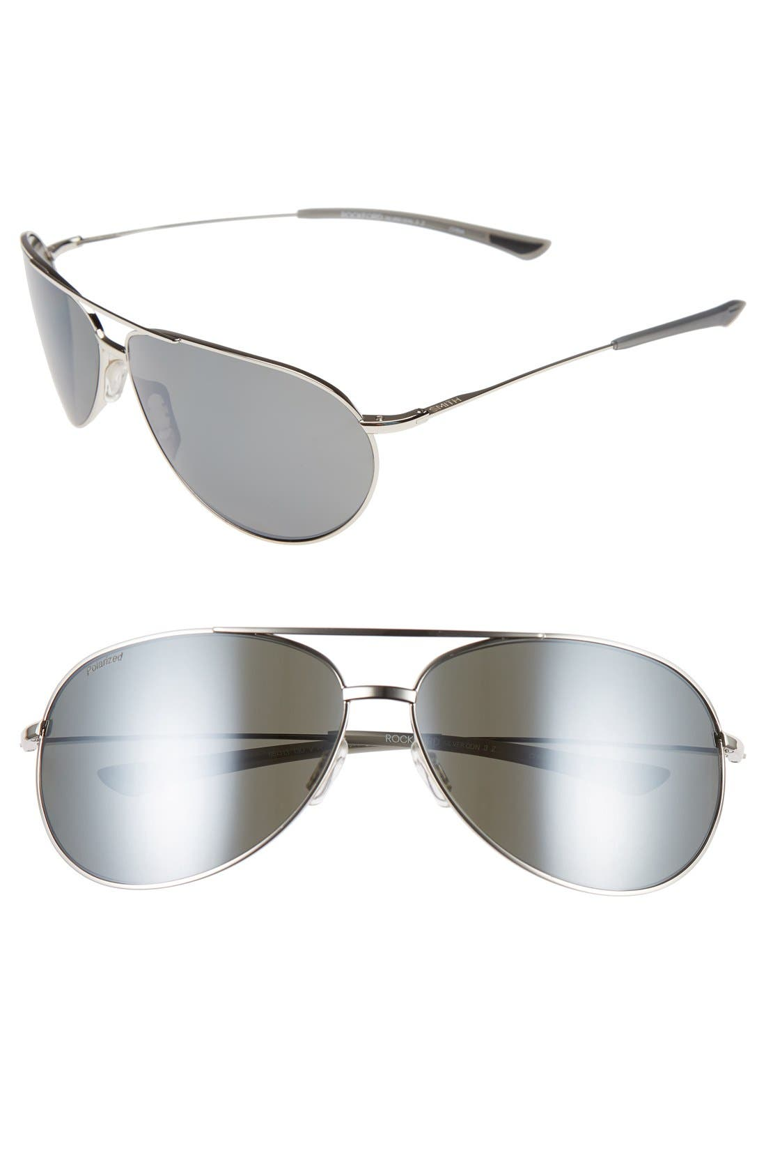 Main Image - Smith 'Rockford' 65mm Polarized Aviator Sunglasses