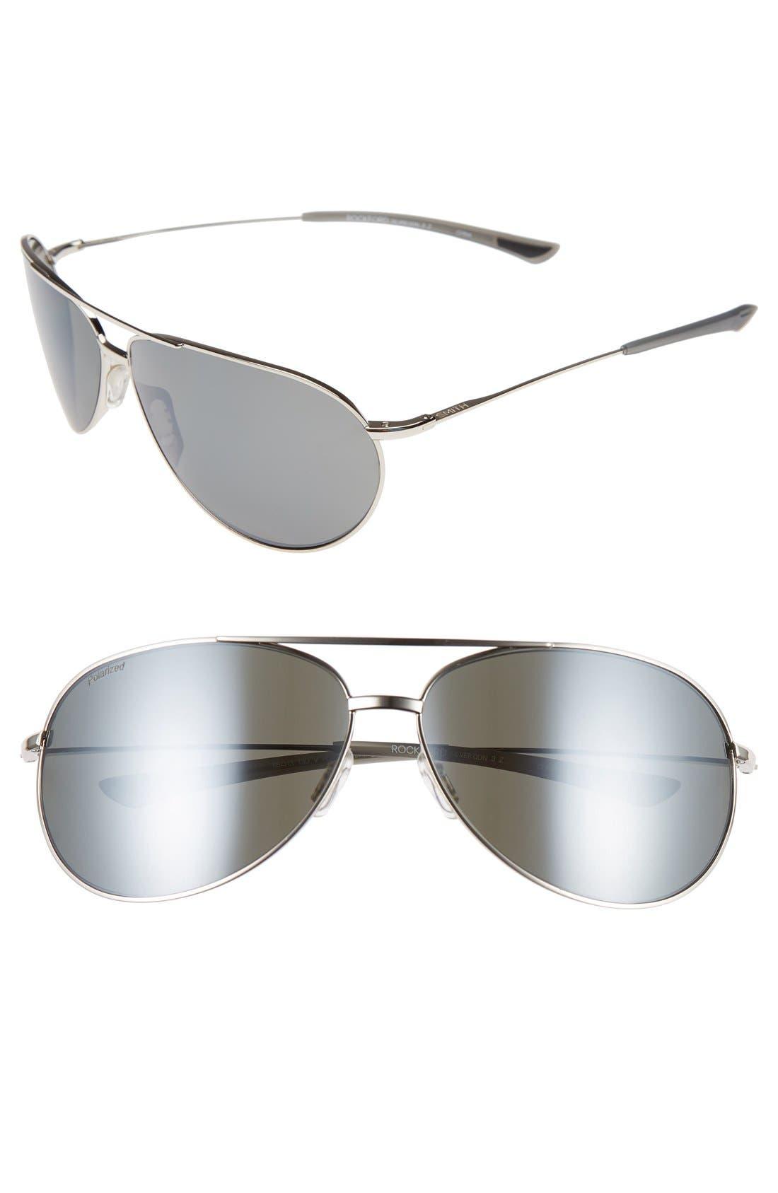 'Rockford' 65mm Polarized Aviator Sunglasses,                         Main,                         color, Silver