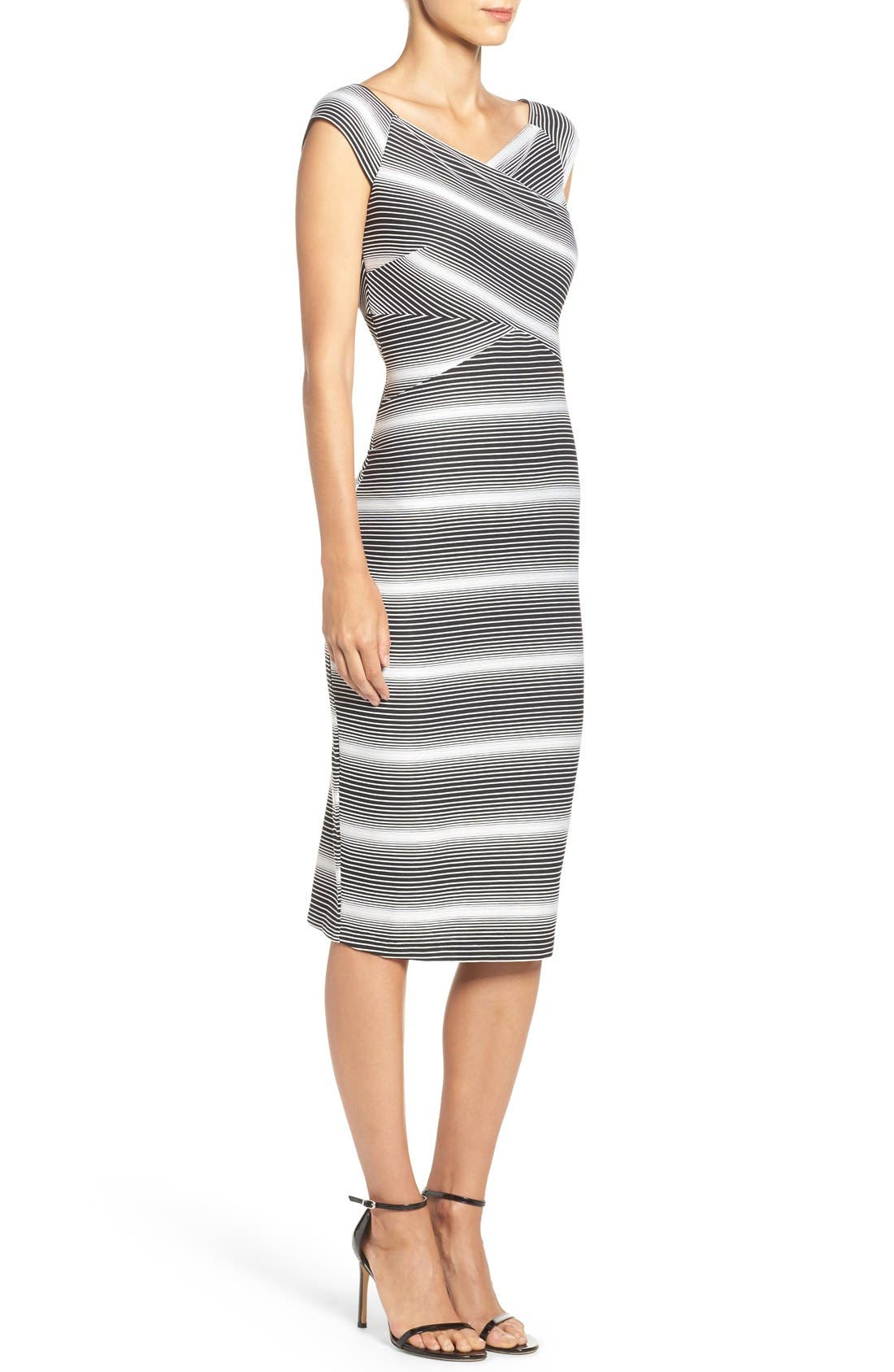 Stripe Jersey Sheath Dress,                             Alternate thumbnail 3, color,                             Black/ White