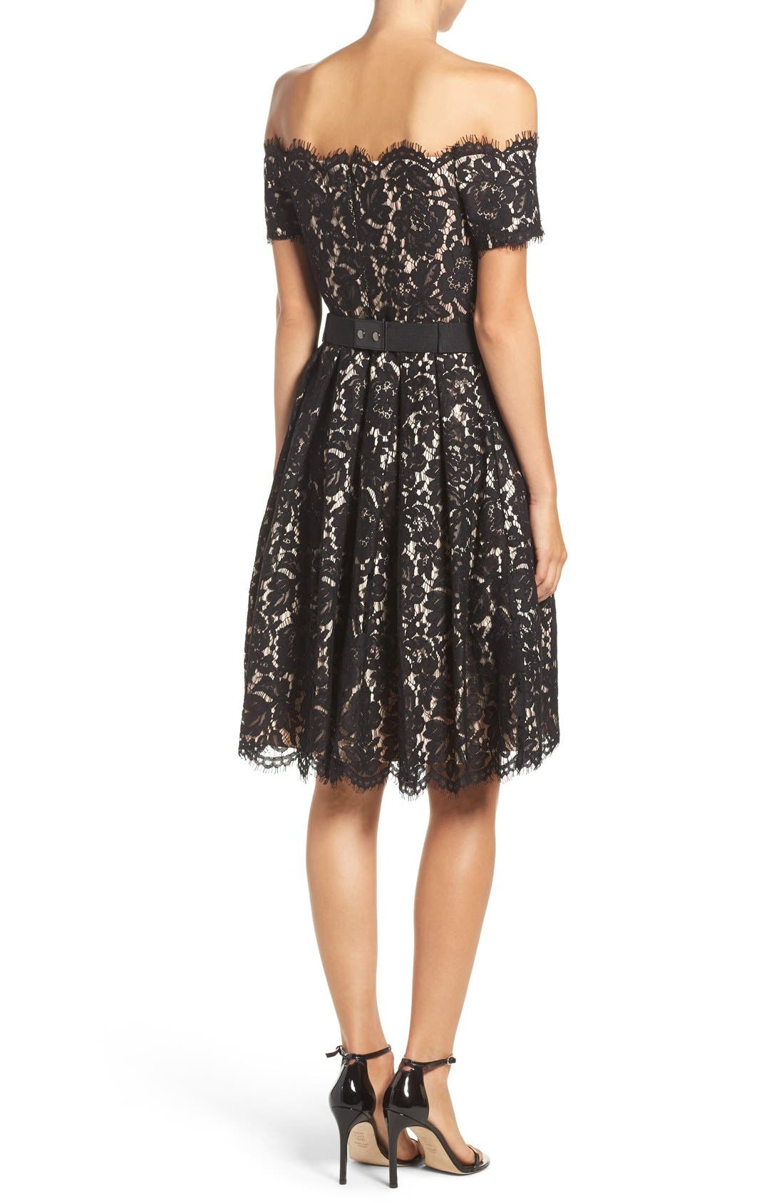 Alternate Image 2  - Eliza J Embellished Lace Fit & Flare Dress (Regular & Petite)