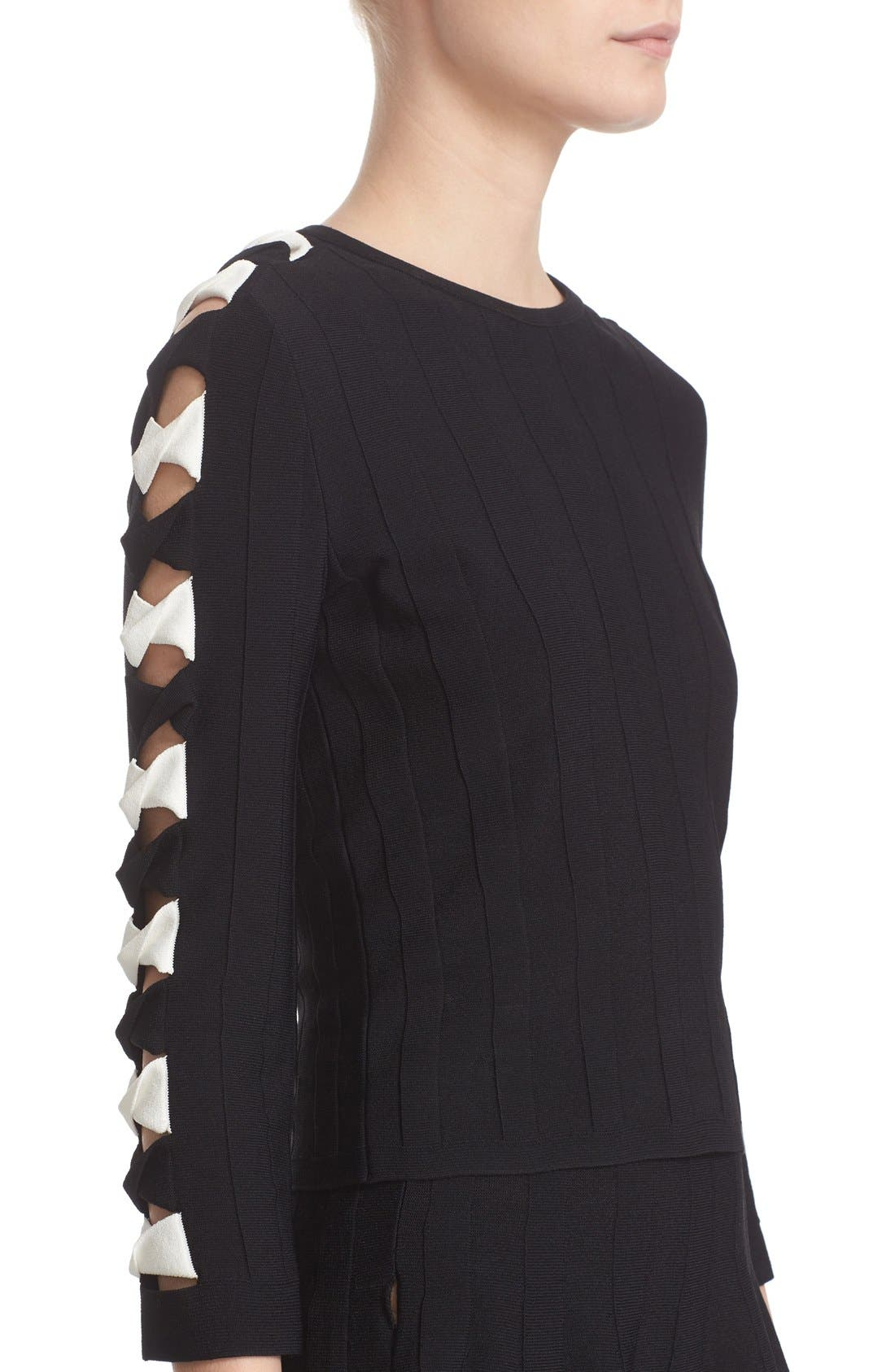 Twisted Cutout Knit Top,                             Alternate thumbnail 6, color,                             Black/ Ivory
